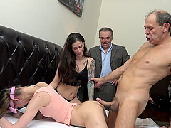 Swinger dudes swap their girlfriends and watch each other fuck