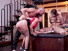 BDSM fetish scene with Krissy Lynn and Gia Derza abused by one guy