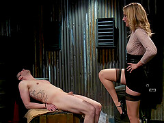 Blonde mature mistress Mona Wales fingers and rides her male slave