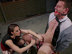 Buxom dominant mature MILF Chanel Preston rides her slave in stockings