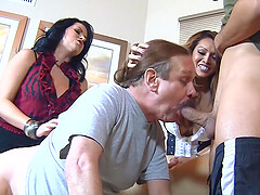 Bisexual foursome with Baylee Lee and Lacie James in stockings