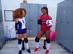 Sporty black lesbian couple Skyler Nicole and Cecilia Lion in uniforms