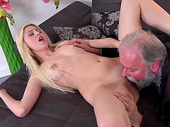 Old man licks and fucks a tiny and shaved pussy of passionate girl Furia