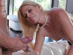 Passionate blonde India Summer takes a friend's fat dick in her tiny pussy