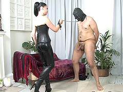 Lady Sophia Black wears sexy costum for seducing and fucking her lover
