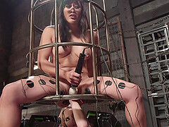 Anal dildo sex and electricity torture with Aiden Starr and Mia Little
