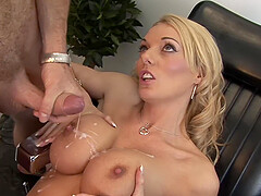 Stacey Saran adores when her friend cum on her tits in the office