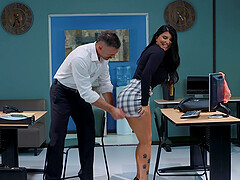 sexy and busty Romi Rain enjoys rough fuck with her boss in the office
