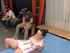 horny brunette wears a costume and enjoys amazing group fuck