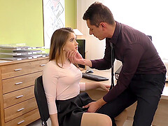 Irresistible big booty babe at the office wears stockings while riding a stiff shaft.