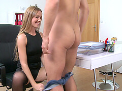After a blowjob Alexis sits on a stranger's hard pecker in the office