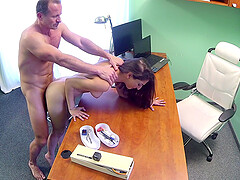 Angel Long feeds her unshaved pussy with a doctor's long penis