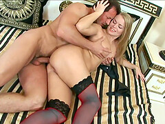 Dora Venter spreads her legs for a friend's hard cock on the bed