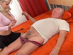 Kinky Blonde Babe Fucks and Old Grandpa In His Bed