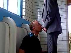 Young man sucks an old mens cock in the public toilet