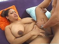 Chubby Indian housewife gets fucked and jizzed on