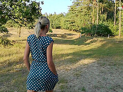 German MILF blows twice and creampied outdoors