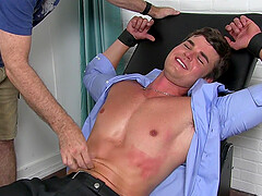 Gay guy tied up, undressed from his suit and tickled by a perv