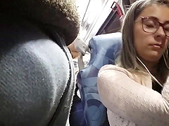 Big tits girl on the bus