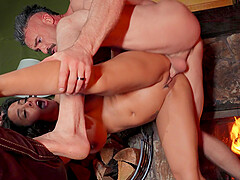 Large fake boobs model Luna Star opens her legs for a quickie