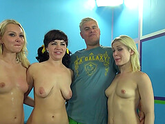 Passionate group sex between one dude and three horny babes