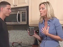 Stepson fucked blonde stepmom in the kitchen